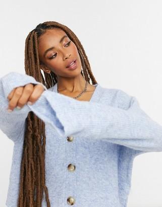 Bershka knitted cardigan co-ord in blue