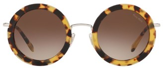Miu Miu Delice Tortoiseshell Print Round Sunglasses