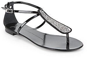 Giuseppe Zanotti Patent Leather Embellished Flat Sandals