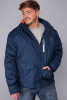 Yours Clothing KANGOL Navy Water Resistant Hooded Coat With Orange Fleece Lining