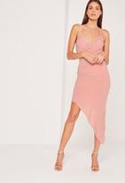 Missguided Strappy Asymmetric Wrap Midi Dress Rose