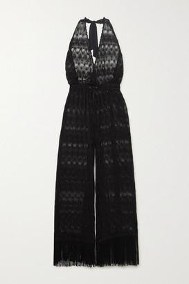 Missoni Mare Cropped Fringed Metallic Crochet-knit Halterneck Jumpsuit - Black