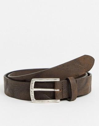 ASOS DESIGN slim belt in vintage brown leather with silver buckle