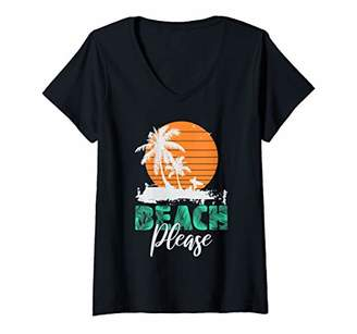 Womens Beach Please funny Beach Wear and Summer Dresses Vacation V-Neck T-Shirt