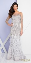 Terani Couture Feather Embellished Illusion Open Back Long Sleeve Evening Dress