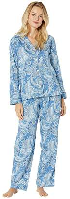 Lauren Ralph Lauren Sateen Long Sleeve Pointed Collar Long Pants Pajama Set