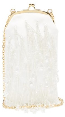 Erdem Bead-embroidered Mikado Clutch - White Multi