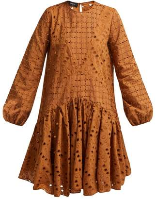 Rochas Broderie-anglaise Cotton Dress - Womens - Brown