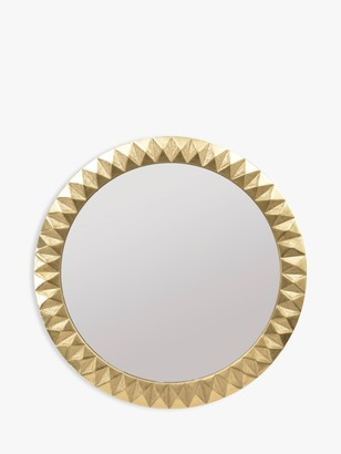 Libra Savoy Large Round Embossed Mirror, Brass, 110cm