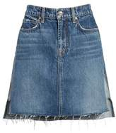 7 For All Mankind Reverse Side Panel Step Hem Denim Skirt