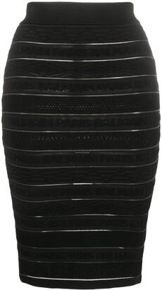 Balmain Logo Stripe Skirt