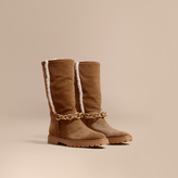 Burberry Chain Detail Shearling and Suede Boots