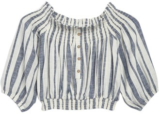 Vintage Havana Smocked Off-The-Shoulder Cropped Blouse