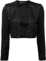 Alice + Olivia Alice+Olivia - zigzag pattern cropped jacket - women - Silk - 2