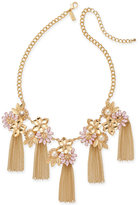 INC International Concepts Catherine Stein for Gold-Tone Imitation Pearl Multi-Stone Tassel Necklace, Only at Macy's