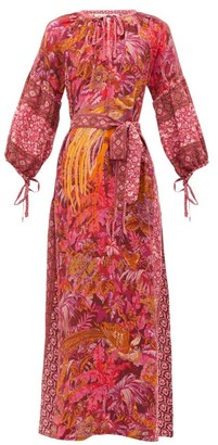 D'Ascoli Sunset Printed Silk-crepe Maxi Dress - Womens - Red Print