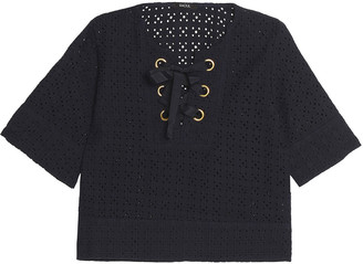 Raoul Lace-up Broderie Anglaise Cotton Top