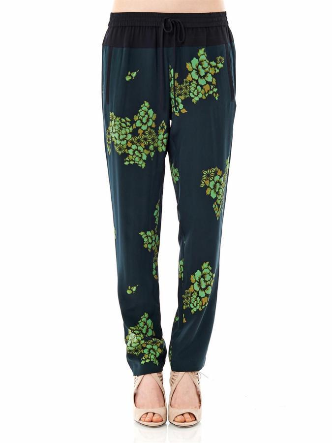 A.L.C. Japanese floral-print silk trousers