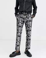 Twisted Tailor super skinny velvet suit trousers with silver print in black
