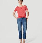 LOFT Frayed Straight Crop Jeans in Original Medium Stonewash