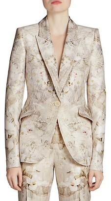 Alexander McQueen Ophelia Print Peak Shoulder One-Button Jacket