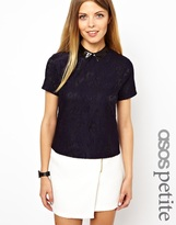 Asos Exclusive Top With Lace Front and Leather Look Collar