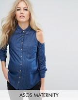 Asos Denim Cold Shoulder Shirt in Dark Blue Wash