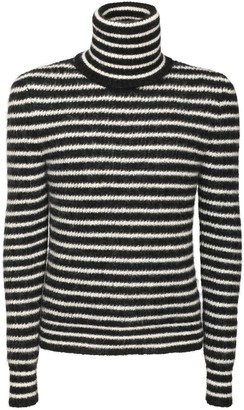 Saint Laurent Stripe Mohair Blend Turtleneck Sweater