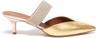 Malone Souliers 'Maisie' braided band metallic leather mules
