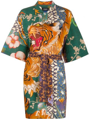 DSQUARED2 Tiger Print Shirt Dress