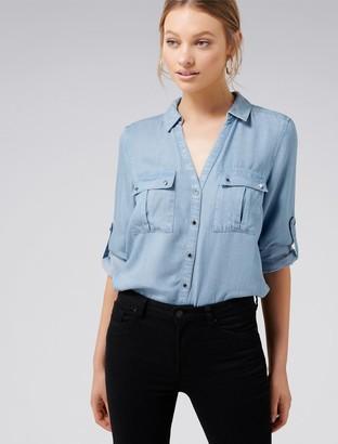 Forever New Lola Denim Utility Roll Sleeve Shirt - Light wash - 4
