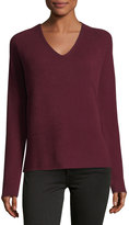 Neiman Marcus Cashmere Basic Pullover Sweater, Red, Plus Size