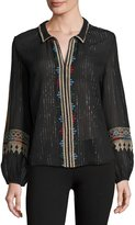 BA&SH Mija Metallic-Stripe Embroidered Blouse, Black