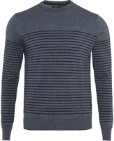 Oxford Sean Striped Crew Neck Knit Blu X