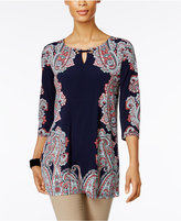 JM Collection Embellished Printed Tunic, Only at Macy's