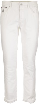 Brunello Cucinelli Lightweight Dyed Denim Leisure Fit Five-pocket Trousers With Rip Details