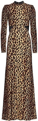 A.L.C. Gabriella Leopard Stretch-Silk Column Gown