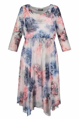Ulla Popken Women's Plus Size Floral Print Hankie Hem Dress Off White Blue Multi 32/34 722319 73-58+