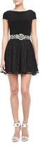 Alice + Olivia Ruey Lace-Skirt Dress