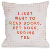 One Bella Casa Read Books Pet Dogs Drink Tea Pillow
