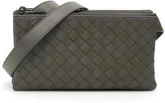 Bottega Veneta INTRECCIATO MESSENGER BAG OS Grey Leather