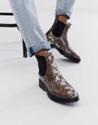 ASOS DESIGN Gentle chunky chelsea rain boots in snake