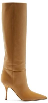 Paris Texas Mama Croc-effect Heel Leather Knee-high Boots - Tan