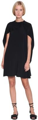 RED Valentino Light Crepe Mini Dress W/ Cape