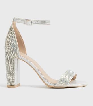 New Look Diamante 2 Part Block Heels