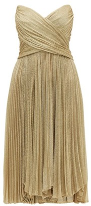 Maria Lucia Hohan Kaira Tie-back Sweetheart Neckline Metallic Dress - Womens - Gold