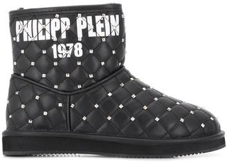 Philipp Plein studded flat boots