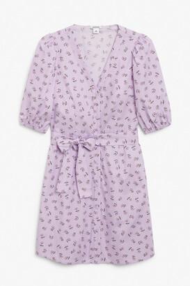 Monki Cotton puff sleeve mini dress