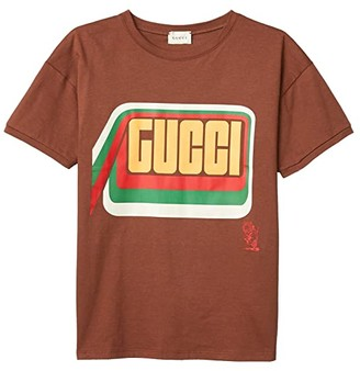Gucci Kids Cotton Jersey w/ Gucci Print T-Shirt (Little Kids/Big Kids) (Cocoa Powder/Multicolor) Kid's Clothing