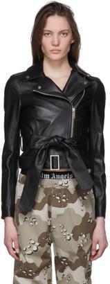 Palm Angels Black Leather Bow Belt Jacket